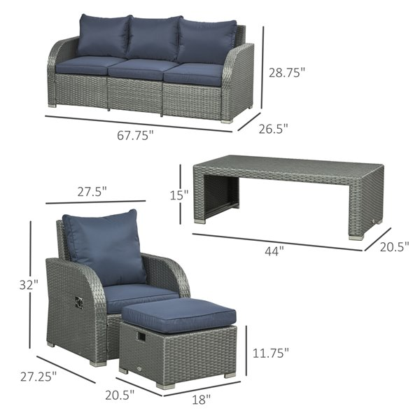 Outsunny 6-Piece Wicker and Metal Frame Patio Conversation Sofa Set With Cushion(s) Included