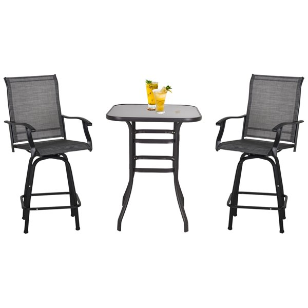Outsunny Garden Table Set 3-piece Black Bar Height Patio Dining Set With Black Bar Height