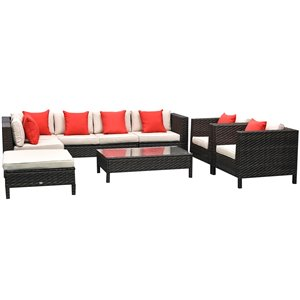 Outsunny 9-Piece Metal Frame Patio Conversation Sofa Set With Cushion(s) Included