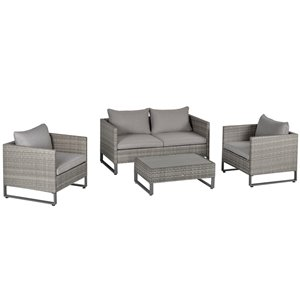 Outsunny 4-Piece Metal Frame Patio Conversation Set With Cushion(s) Included
