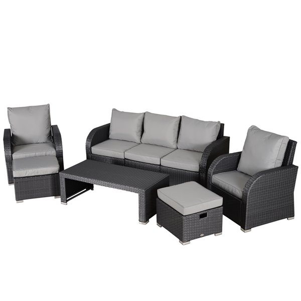 Outsunny 6-Piece Metal Frame and Wicker Patio Conversation Sofa Set With Cushion(s) Included