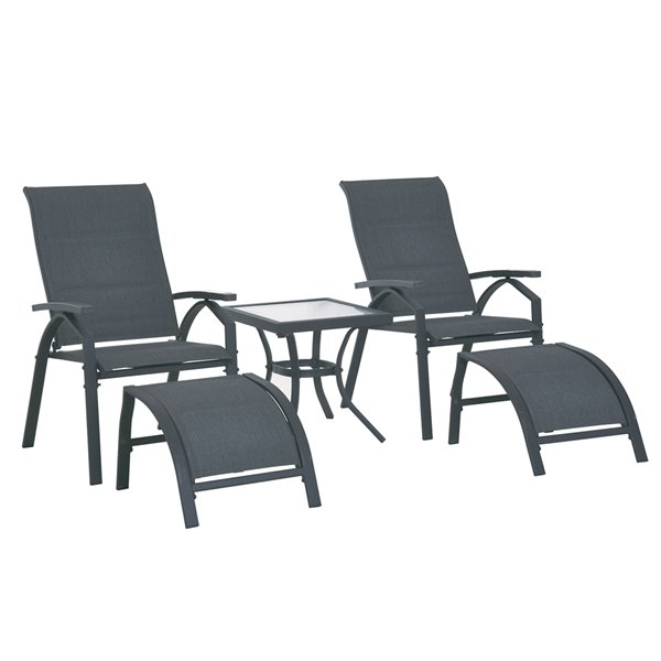 Outsunny Lounge Set 5-piece Black Dining Patio Dining Set With Black Dining