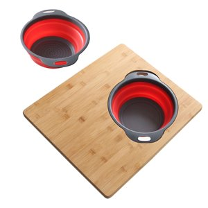 AZUNI 18-in L x 15.75-in W Bamboo Cutting Board With Colander and Bowl Set