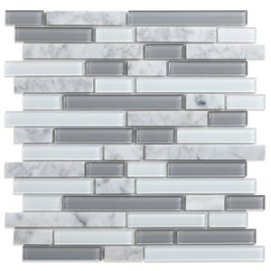 Échantillon de tuile murale en verre/pierre Noriker de Speedtiles, 4 po x 4 po, gris et blanc