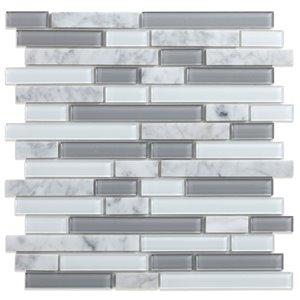 Tuile murale en verre/marbre Noriker de Speedtiles, 12 po x 12 po, blanc et gris pâle, paquet de 6