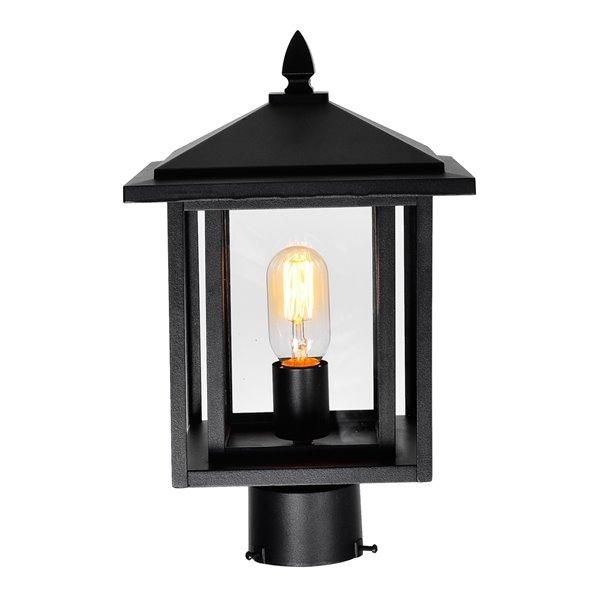 CWI Lighting Crawford 60 Watts 15.7-in Black Farmhouse Pier Mount