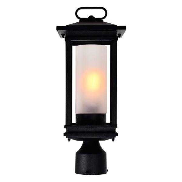 CWI Lighting Granville 60 Watts 15.5-in Black Farmhouse Pier Mount