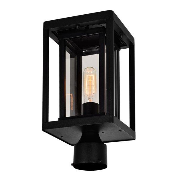 CWI Lighting Mulvane 60 Watts 15.9-in Black Farmhouse Pier Mount