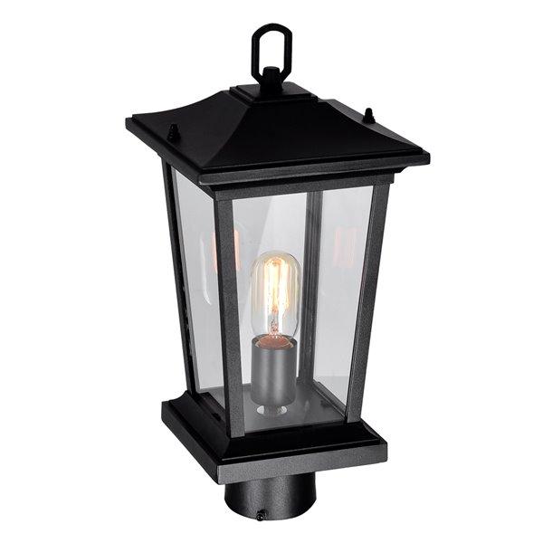 CWI Lighting Leawood 60 Watts 18.7-in Black Farmhouse Pier Mount