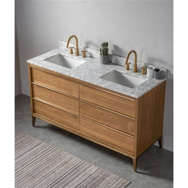 Kinwell 60 In Light Oak Double Sink Bathroom Vanity With White Marble Top And 6 Drawers Bsc011 Lightoak Rona