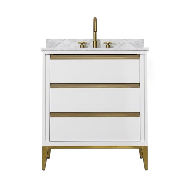 Kinwell 30-in White Single Sink Bathroom Vanity With White Marble Top  BSC005-WHITE RONA