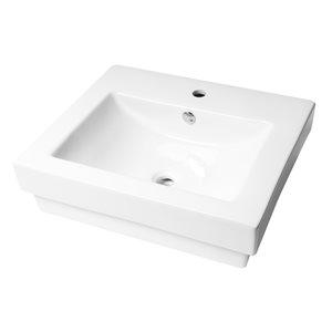 Alfi Brand White Porcelain Drop-In Rectangular Bathroom Sink with Overflow Drain (23.63-in x 20.13-in)