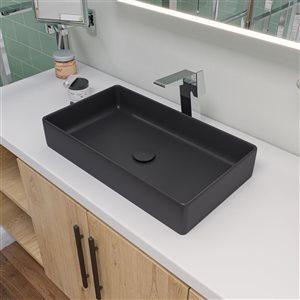 Alfi Brand Black Matte Porcelain Vessel Rectangular Bathroom Sink (24-in x 13.63-in)