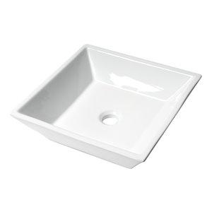 Alfi Brand White Porcelain Vessel Square Bathroom Sink (16.5-in x 16.5-in)