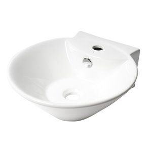 Alfi Brand White Porcelain Wall-Mount Oval Bathroom Sink with Overflow Drain (16.38-in x 16.88-in)