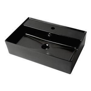 Alfi Brand Black Matte Porcelain Vessel Rectangular Bathroom Sink with Overflow Drain (23.38-in x 15.75-in)