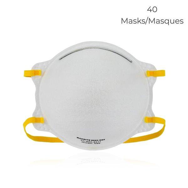 Masque respiratoire N95 NIOSH 9500 de Makrite, approuvé par la FDA, paquet de 40