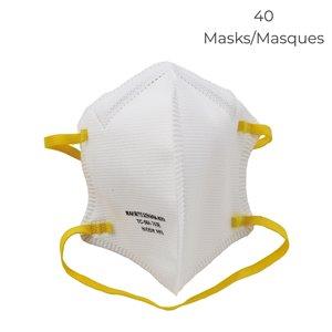 Masque respiratoire pliable N95 NIOSH Sekura de Makrite, paquet de 40