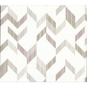 Papier peint non-tissé non encollé géométrique Verity de 57,8pi² par Advantage, blanc cassé