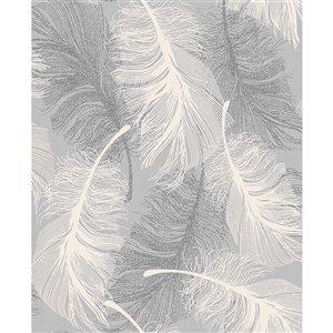 Papier peint en vinyle non encollé Hurston de 56,4pi² par Advantage, gris