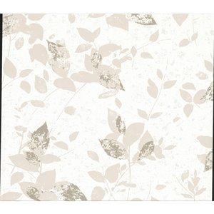 Papier peint non-tissé non encollé au motif de vignes Oceane de 57,8pi² par Advantage, blanc cassé