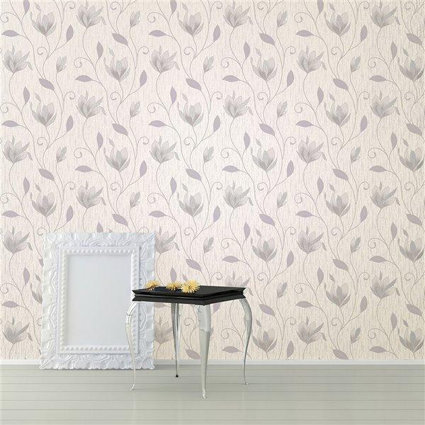 Papier peint floral en vinyle non encollé Gallagher de 56,4pi² par Advantage, blanc cassé