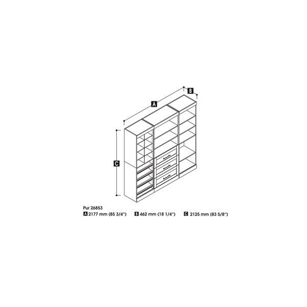 Meuble de rangement Pur de 86 po gris écorce de Bestar avec cubes