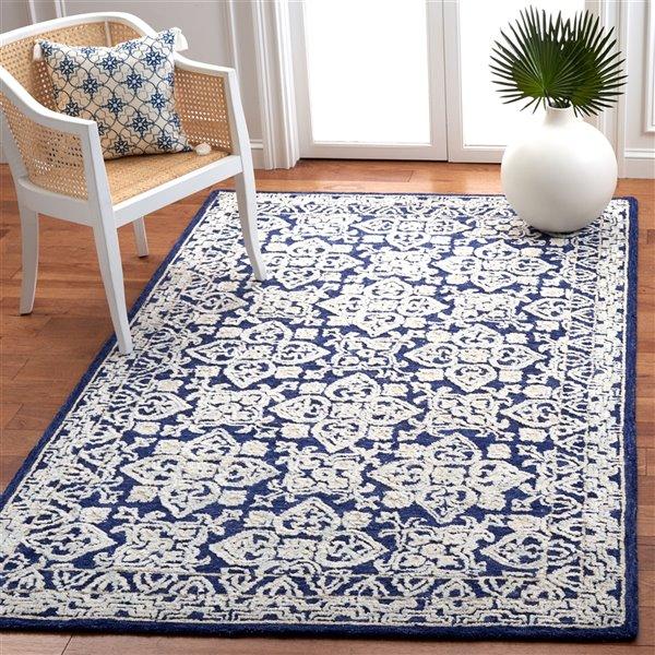 Tapis décoratif d'intérieur rectangulaire bleu marine/ivoire Aspen par Safavieh de style éclectique, 8 pi x 10 pi