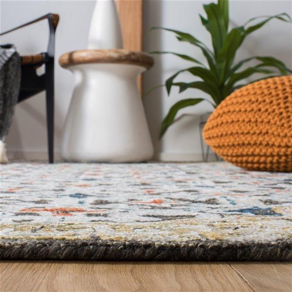 Carpette d'intérieur rectangulaire bleue/taupe Aspen par Safavieh de style éclectique, 3 pi x 5 pi
