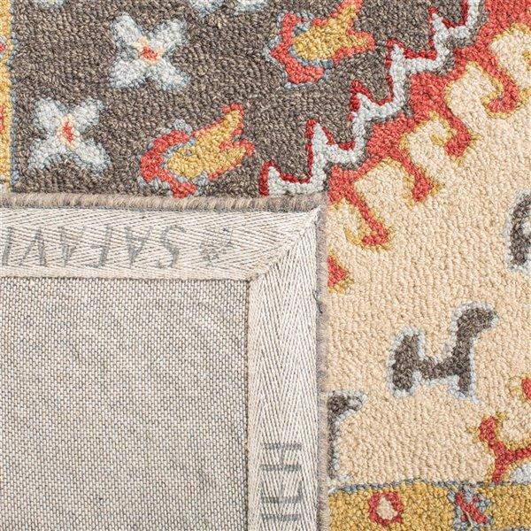 Tapis décoratif d'intérieur carré rouge/ivoire Aspen par Safavieh de style éclectique, 7 pi x 7 pi