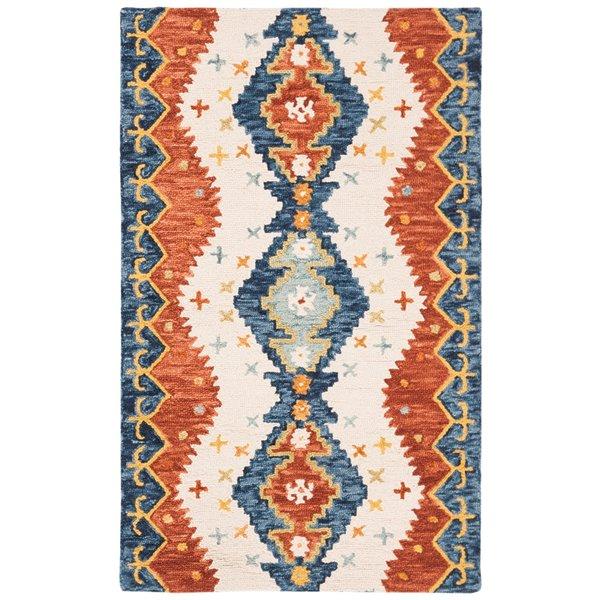 Carpette d'intérieur rectangulaire ivoire/bleue Aspen par Safavieh de style éclectique, 3 pi x 5 pi