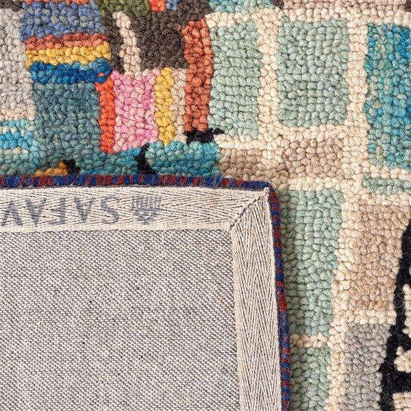 Tapis décoratif d'intérieur rectangulaire ivoire/noir Aspen par Safavieh de style éclectique, 8 pi x 10 pi
