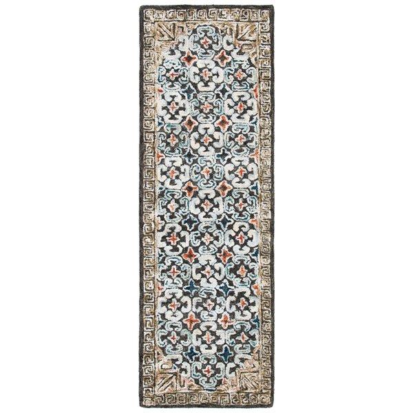 Tapis de passage d'intérieur rectangulaire bleu/taupe Aspen par Safavieh de style éclectique, 2 pi x 7 pi