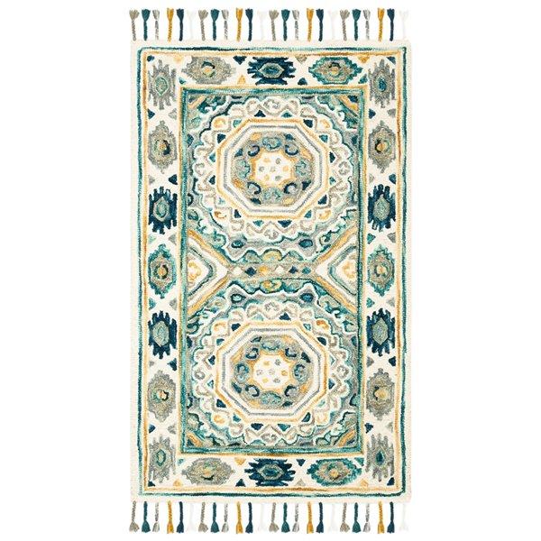 Carpette d'intérieur rectangulaire ivoire/gris anthracite Aspen par Safavieh de style éclectique, 3 pi x 5 pi