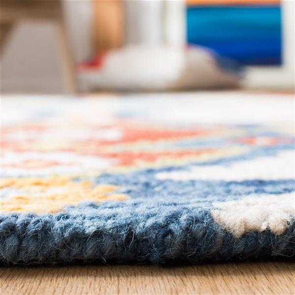 Tapis décoratif d'intérieur carré ivoire/bleu Aspen par Safavieh de style éclectique, 7 pi x 7 pi