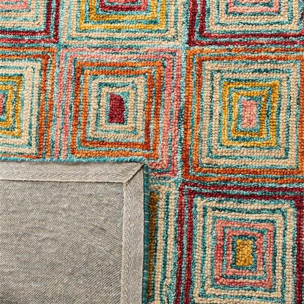 Tapis décoratif d'intérieur rectangulaire rose/or Aspen par Safavieh de style éclectique, 8 pi x 10 pi