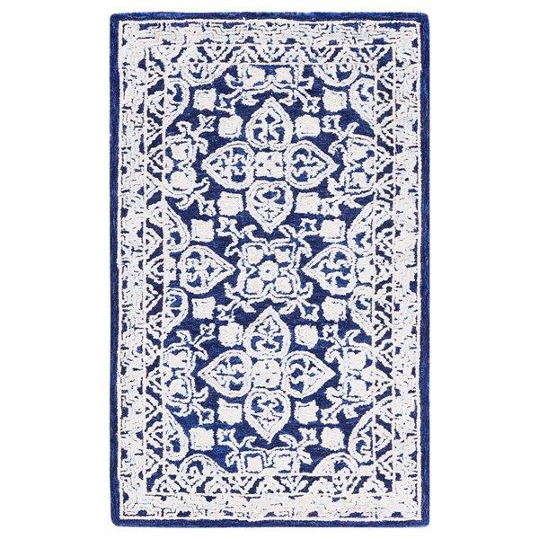 Carpette d'intérieur rectangulaire bleu marine/ivoire Aspen par Safavieh de style éclectique, 3 pi x 5 pi