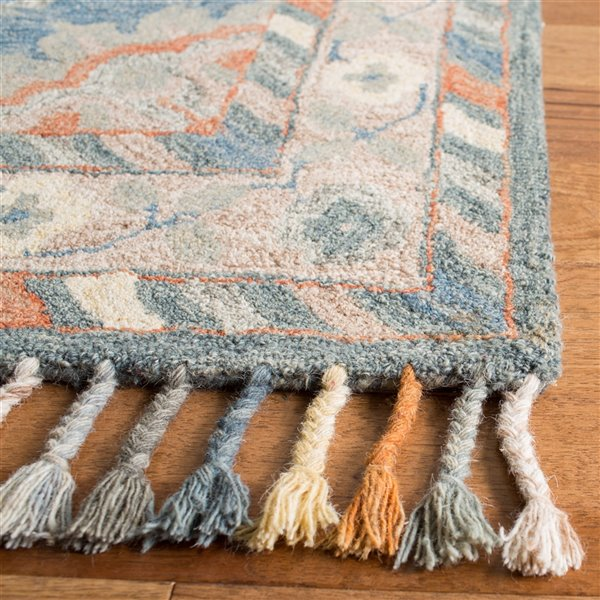 Tapis décoratif d'intérieur carré bleu/rouille Aspen par Safavieh de style éclectique, 7 pi x 7 pi