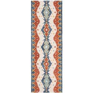 Tapis de passage d'intérieur rectangulaire ivoire/bleu Aspen par Safavieh de style éclectique, 2 pi x 7 pi