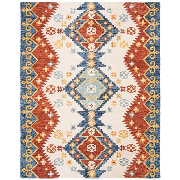 Tapis décoratif d'intérieur rectangulaire ivoire/bleu Aspen par Safavieh de style éclectique, 9 pi x 12 pi