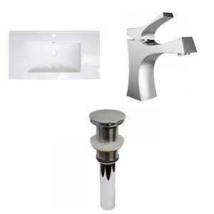 American Imaginations Flair 36.75-in White Fire Clay Single Sink Bathroom Vanity Top and Faucet