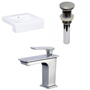 American Imaginations White Vessel Rectangular Bathroom Sink with Faucet - Overflow and Drain Included (19-in x 20.25-in)