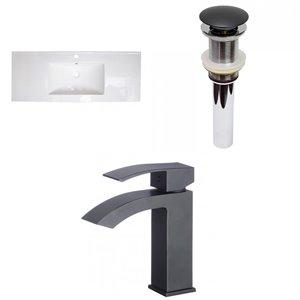American Imaginations 39.75-in White Ceramic Single Sink Rectangular Bathroom Vanity Top Kit