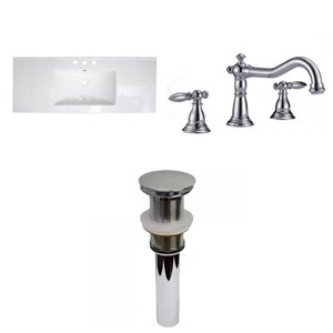 American Imaginations Roxy 48-in White Fire Clay Single Sink Bathroom Vanity Top - Widespread Faucet Included