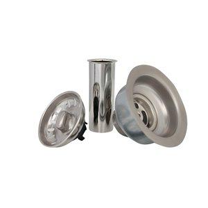 Crépine d'évier en acier inoxydable antirouille de Stylish pour drain de 3,5 po avec tuyau d'échappement