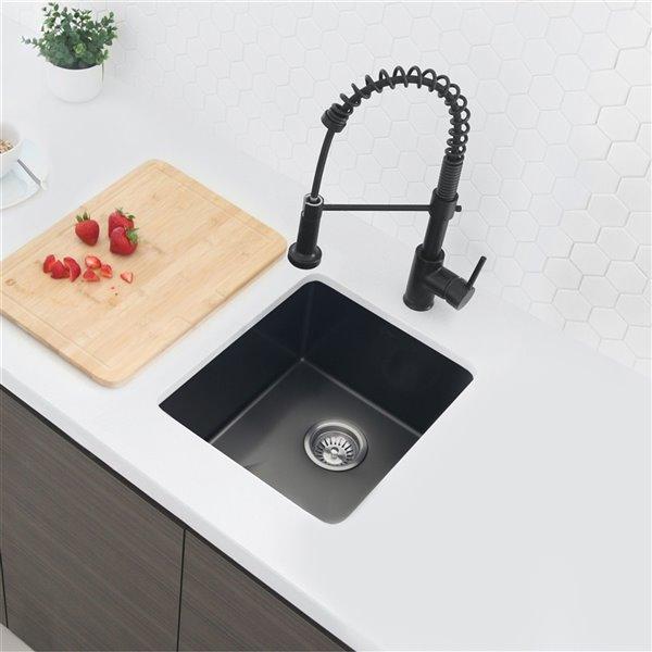 Robinet de cuisine à arc élevé Milano par Stylish avec 1 poignée/levier, noir mat