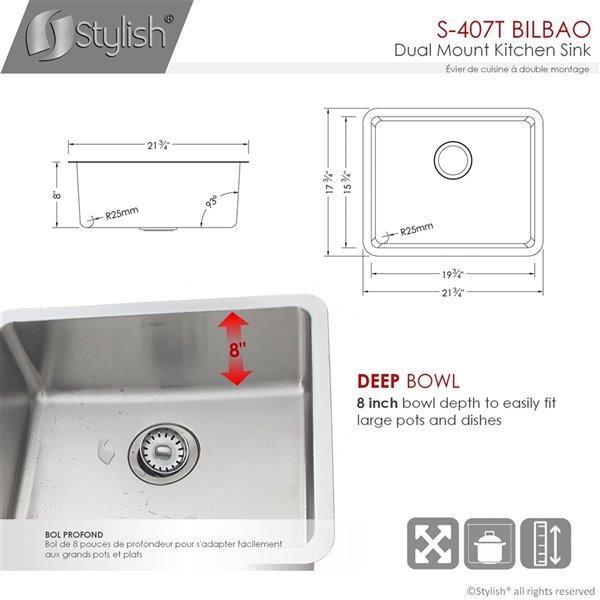 Évier de cuisine simple sous plan Builders Bilbao de Stylish, 21,75 po x 17,75 po