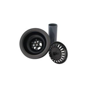 Crépine d'évier en acier inoxydable noir antirouille de Stylish pour drain de 3,5 po avec tuyau d'échappement