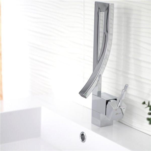 Robinet pour lavabo de salle de bain chrome  à 1 poignée Gabriella par Stylish avec plaque de finition