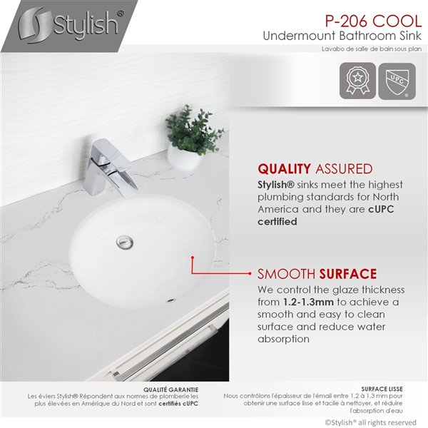 Lavabo de salle de bain ovale en porcelaine blanche de Stylish avec trop-plein noir mat, 19,5 po x 16 po